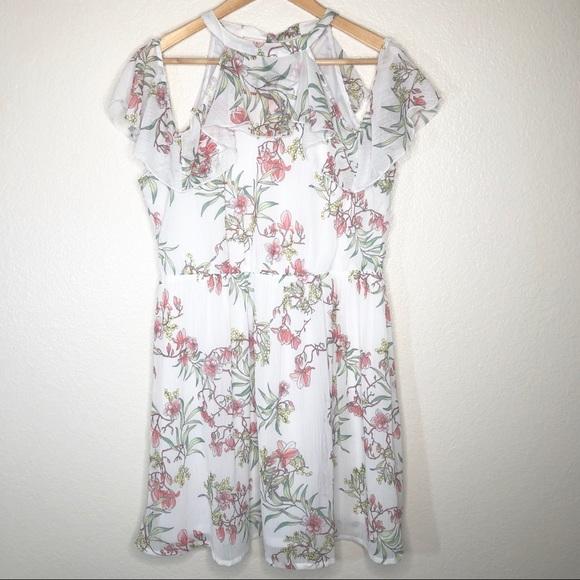 clockhouse Dresses & Skirts - Clockhouse Floral Dress Cold Shoulder Lined Sz L